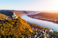 Marksburg above Braubach at Rhine river