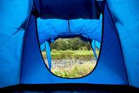 natural view from outdoor camping tent door