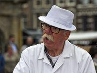 Portrait of a cheese merchant, Gouda cheese market, Gouda, Netherlands