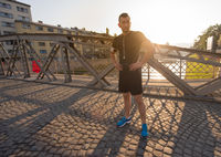 portrait of a jogging man at sunny morning