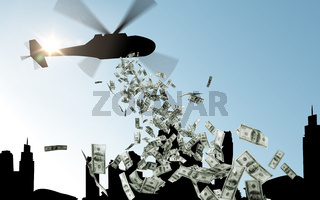 helicopter in sky dropping money over city