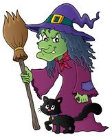 Witch with cat and broom theme image 1 - picture illustration.