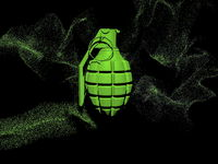 Hand grenade in green with small particles around on black