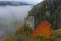 Ruins of Tschanüff Castle, Engadine, Ramosch, Graubunden, Grisons, Switzerland