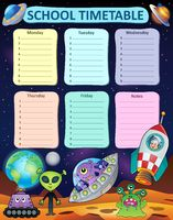 Weekly school timetable thematics 8 - picture illustration.