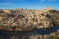 Toledo, Spain. Aerial view of medieval city Toledo in december