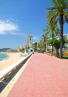 Promenade of Lloret de Mar at Costa Brava,Catalonia,mediterranean Sea,Spain