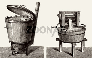 Old washing machine and mangle or wringer, 19th century
