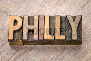 Philly word abstract in letterpress wood type
