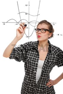 student girl drawing a mathematical graph