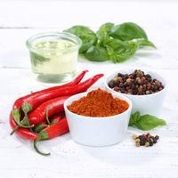 Gewürze kochen Zutaten Paprika Pulver Paprikapulver Quadrat rote scharfe Peperoni