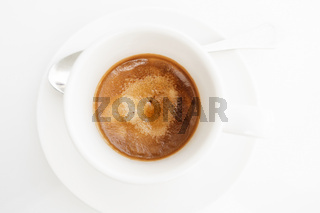 Top view of espresso coffee