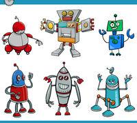 robot cartoon characters set