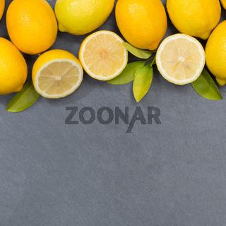 Zitrone Zitronen Früchte quadratisch Textfreiraum Schiefertafel von oben