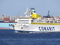 ferry ship Boughaz from the Comarit company entering in the port of algeciras