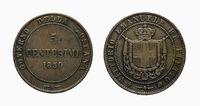 Five 5 cents Lire Savoy Copper Coin 1859 Vittorio Emanuele pre-unification of Italy Re Eletto