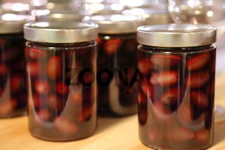 Kalamata olives in jars