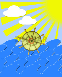 marine waves with steering-wheel and sun beams