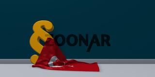 paragraph symbol und türkische flagge - 3d illustration