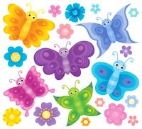 Stylized butterflies theme set 3
