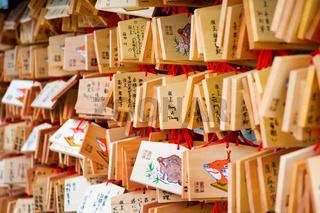 Japanese votive plaque at temple