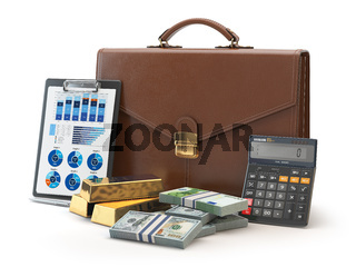 Stock market portfolio concept. Briefcase with calculator, gold and money isolated on white background.