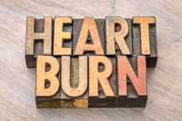 heartburn word in letterpress type