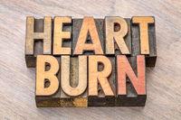 heartburn word in letterpress type