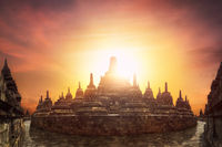 Sunset at Borobudur Temple. Java,  Indonesia