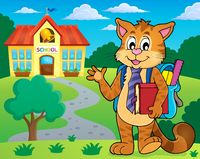 School cat theme image 2 - picture illustration.