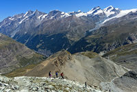 Hikers descending on the trail from the Hoernlihuette back to Zermatt, Valais, Switzerland