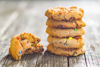 Sweet cookies with colorful candies.