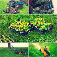 Collage of gardening images - lawn mower, sprinkler,flowerpots ready for cultivating