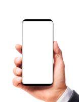 Modern bezelless smartphone in hand