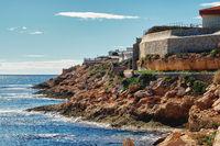 Rocky coastline of Cabo Roig. Costa Blanca. Spain