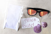 Sunny Flat Lay Summer Label Alles Gute Means Best Wishes