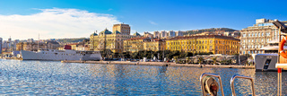 City of Rijeka waterfront boats and architecture panoramic view