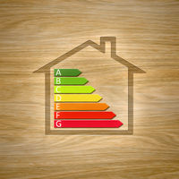 wooden house with energy efficiency graph