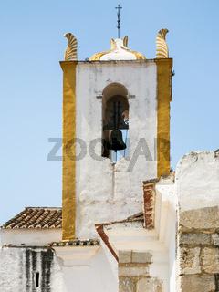 bell tower of Church of Santiago in Tavira city