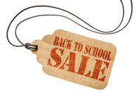 back to school sale sign on isolated price tag
