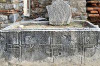 Stone sarcophagus with three crosses John Basilica ruins Selcuk