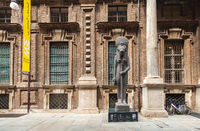 The statue at the entrance to the Egyptian Museum. Turin