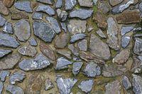retaining wall of gray stones