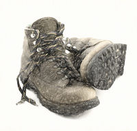 old heavy hiking boots