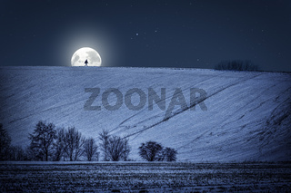 Winter landscape with moon at night