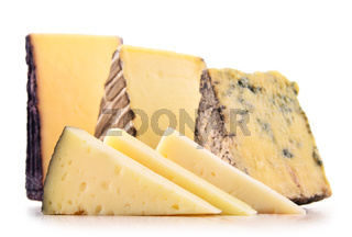 Pieces of cheese isolated in white background.