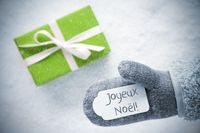 Green Gift, Glove, Joyeux Noel Means Merry Christmas, Snowflakes