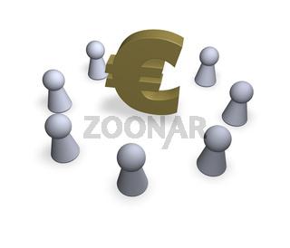 spielfiguren stehen im kreis mit eurozeichen in der mitte - 3d illustration