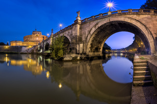 Panorama of Ponte Sant'Angelo and Castel Sant'Angelo in the Morning, Rome, Italy