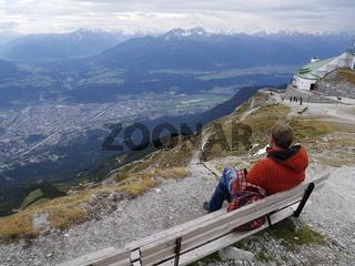 Blick auf Innsbruck von der Bergstation Hafelekar,Nordkette,Tirol,Österreich